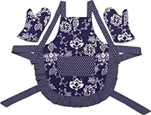 Stephanie Imports Blue Floral Adult Kitchen Apron with Pockets & Oven Mitts