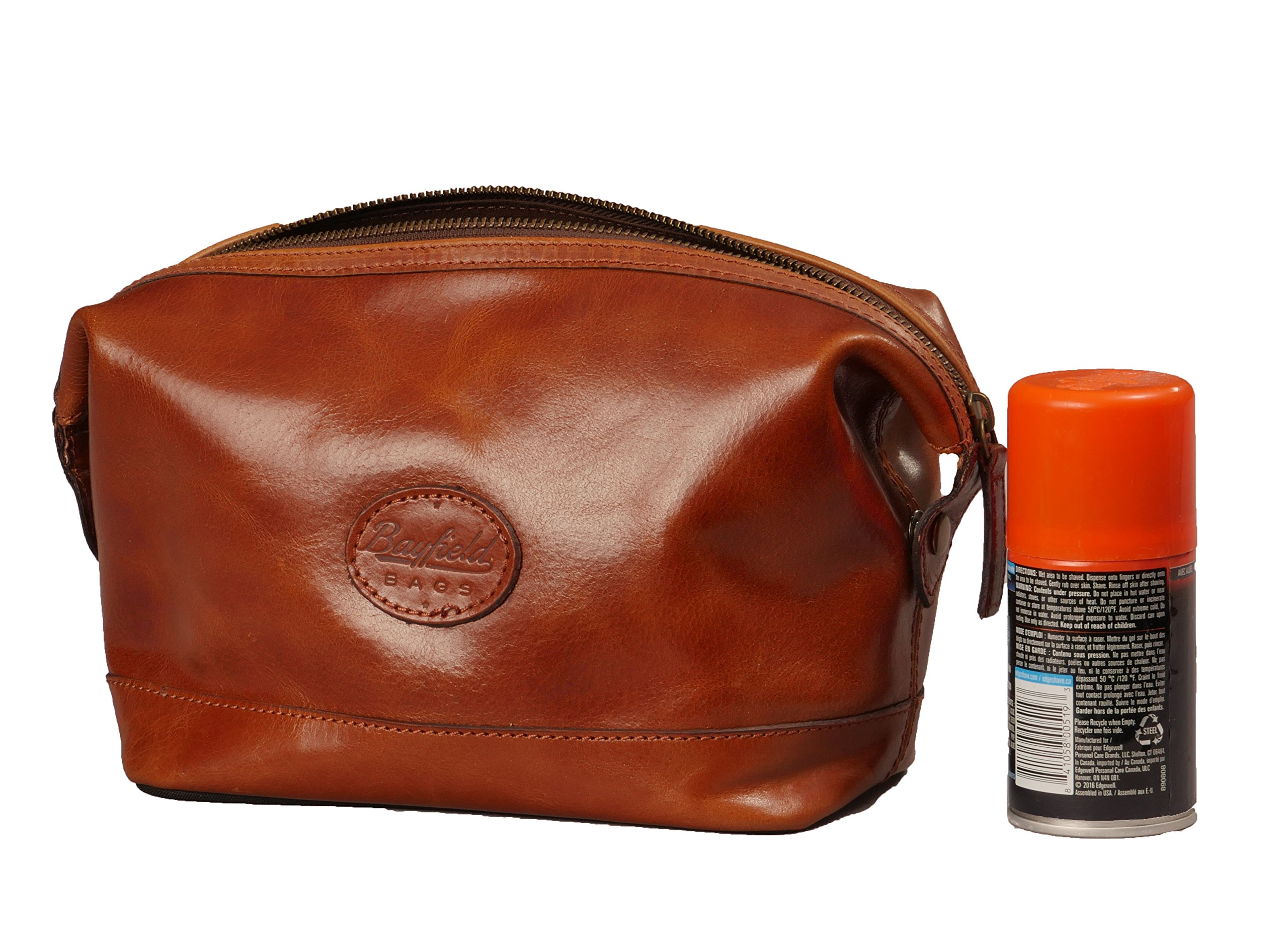 Leather Toiletry Bag for Men – Zippered Dopp Kit Organizer – Brown Travel Shaving Kit Case (9x5x7) by Bayfield Bags by Bayfield Bags (Image #7)