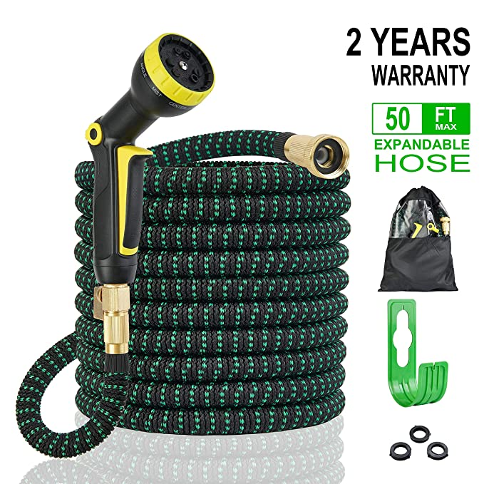 Expandable Garden Hose 50ft No-Leakage with 9 Function Spray Nozzle, Improved Flexible Expanding Water Hose with 3/4 Solid Brass Fittings