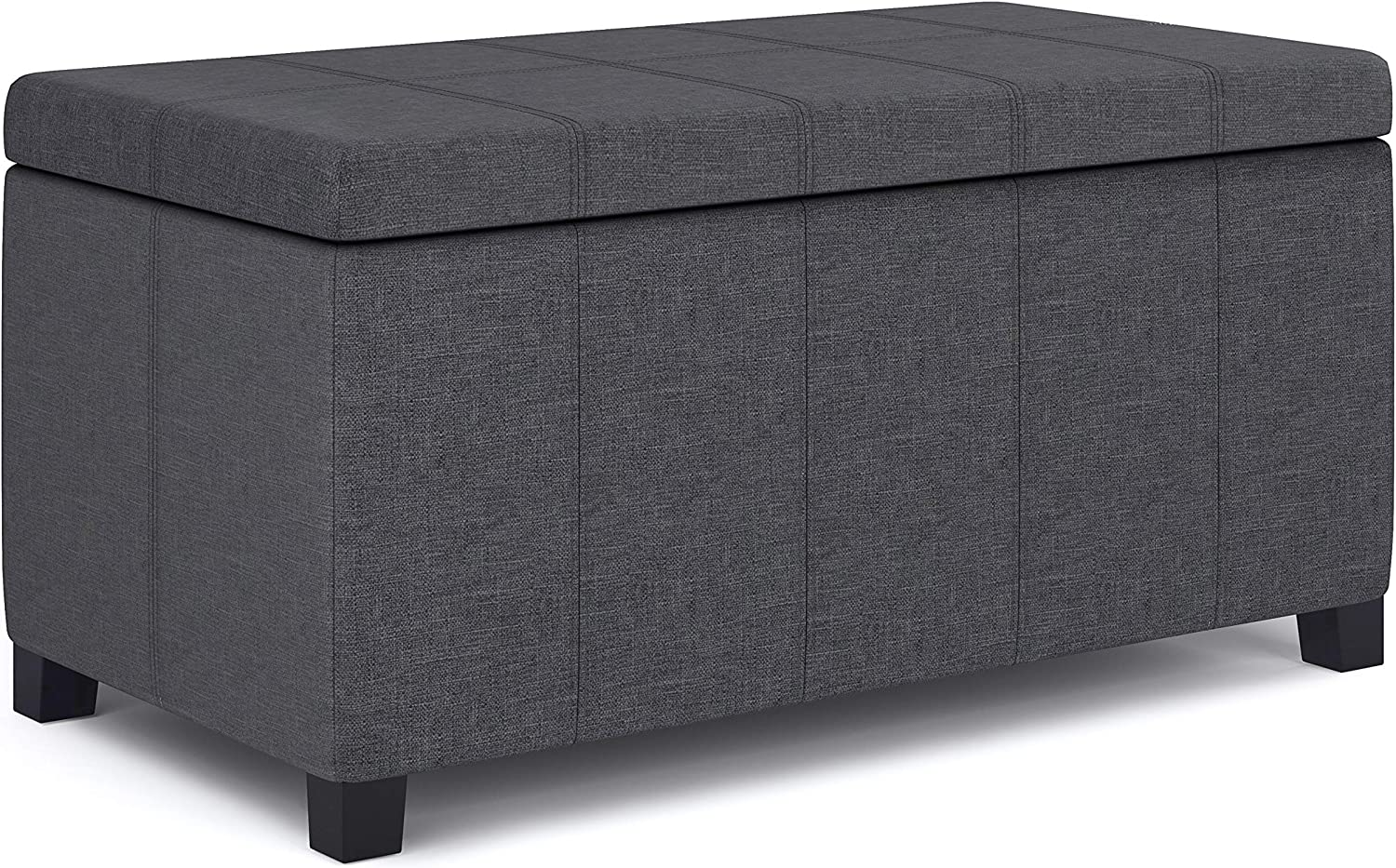 SIMPLIHOME Dover 36 inch Wide Contemporary Rectangle Storage Ottoman Bench in Slate Grey Linen Look Fabric