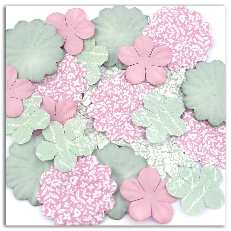 Toga AA32/Shabby Love Surtido de 25/Flores Impresas Papel 4,3/x 4,3/x 0,1/cm
