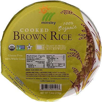 Minsley Cuenco de arroz marrón cocido, 100% orgánico, listo ...
