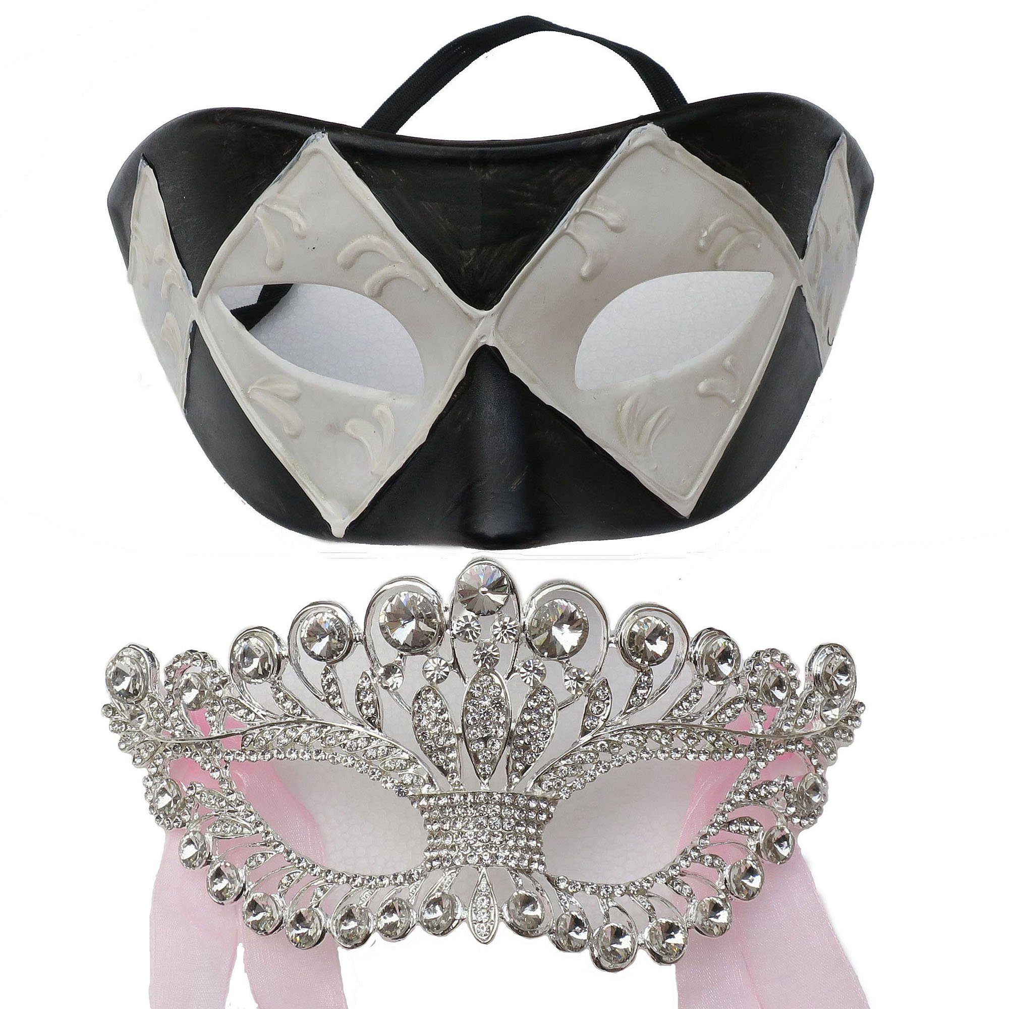 Handicraft Full Rhinestone Venetian Masquerade Ball Women Mask and Black White Grid for Party (Couples Style)