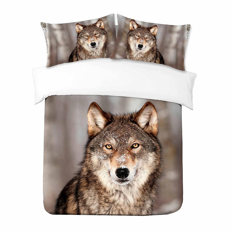 1x Kissenbezug Alle Gr/ö/ßen Lone Wolf Adam Home 3D Digital Printing Bett Leinen Bettw/äsche-Set Bettbezug