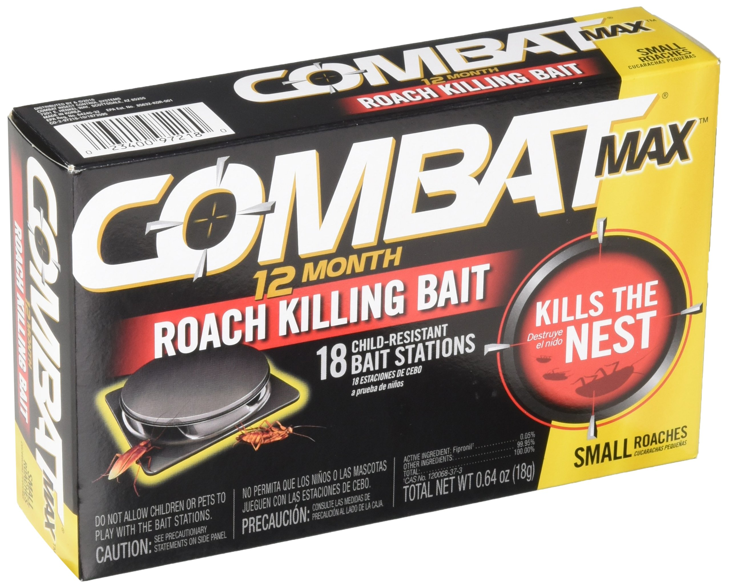 Combat Max 12 Month Roach Killing Bait, Small Roach Bait Station, Child-Resistant, 18 Count by Combat