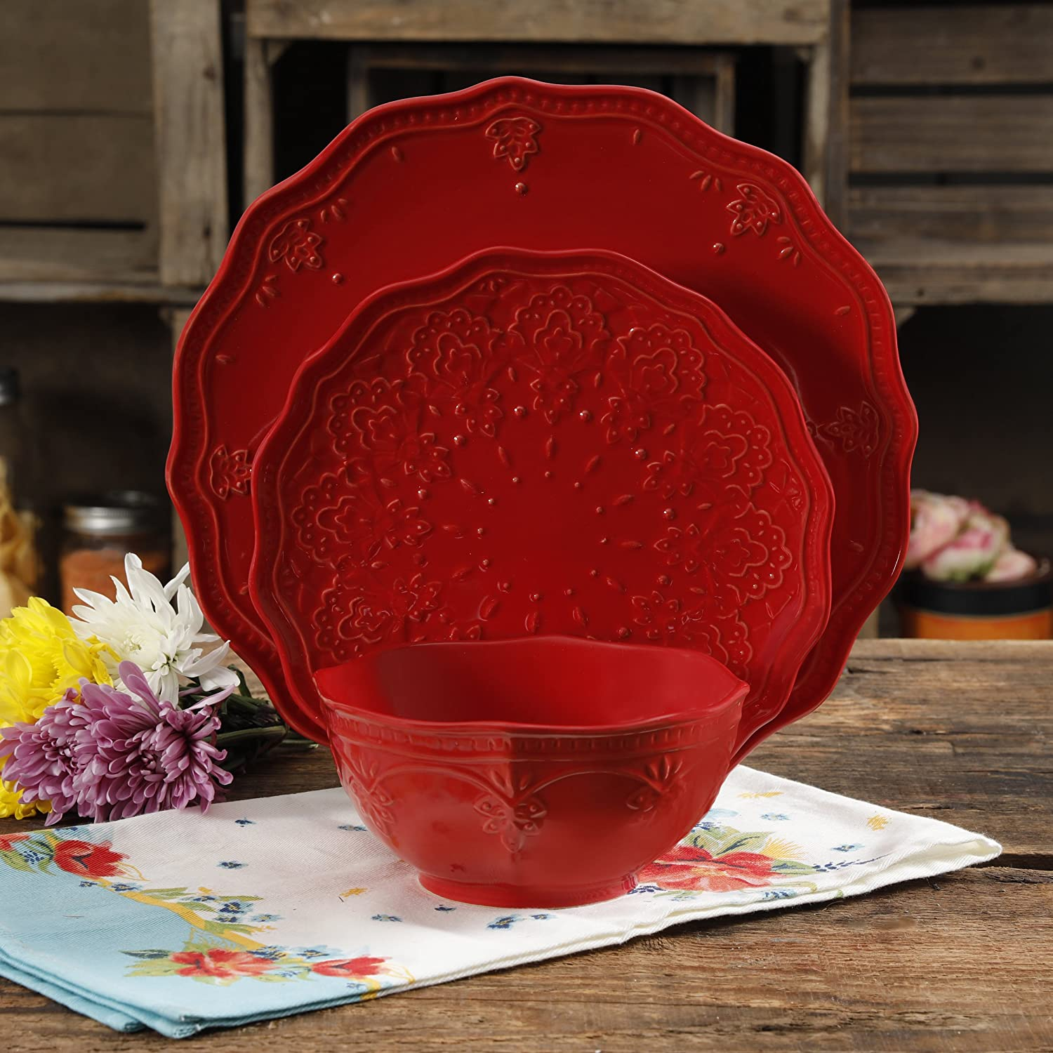 The Pioneer Woman Farmhouse Lace Dinnerware Set, 12-Piece, Red