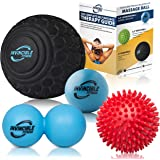"Deep Tissue Massage Ball Set - Includes 5"" Foam Roller Mobility Ball, Double Peanut Lacrosse Ball, Spiky Balls for…"