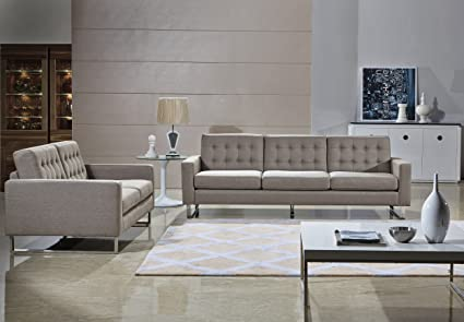 Remarkable Angela Grey Fabric Modern Sofa And Loveseat Set Cappuccino Interior Design Ideas Clesiryabchikinfo