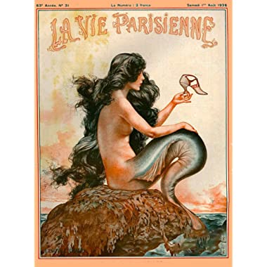 A SLICE IN TIME 1920's La Vie Parisienne Mermaid French Nouveau Paris France Europe European Travel Advertisement Art Collectible Wall Decor Poster Print. Poster measures 10 x 13.5 inches