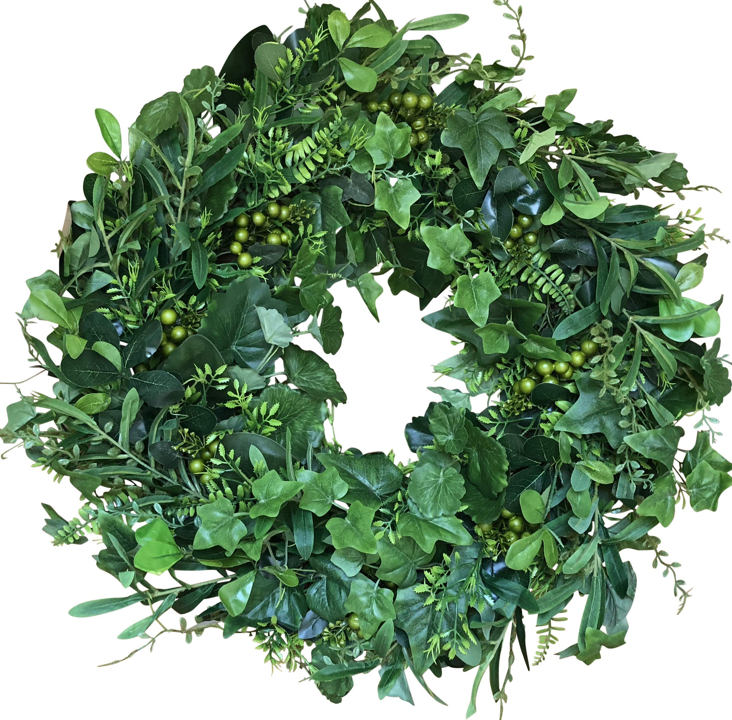 The Wreath Depot Fairmont Front Door Wreath 24 Inches, Year Round Full Green Door Wreath, White Storage Gift Box Included