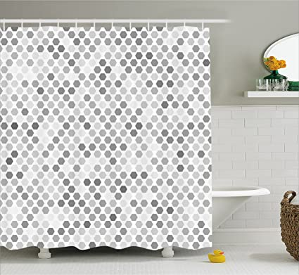 Amazon.com: Ambesonne Grey Shower Curtain, Abstract Zig Zag Hexagon ...