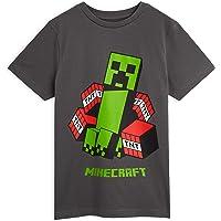 Minecraft Camiseta Niño, Ropa Niño Algodon 100%, Camisetas con Personaje Creeper Color Gris Oscuro, Regalos para Niños y…