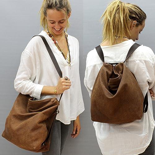 f5be1a3381942 Amazon.com: Soft Leather convertible backpack purse Crossbody bag slouchy  brown side messenger hobo Handmade: Handmade