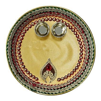 Icrafts India Diwali Decorations Red Golden Leaf Round Pooja Thali Tilak Decorative Platter Set, Traditional Festive Decor
