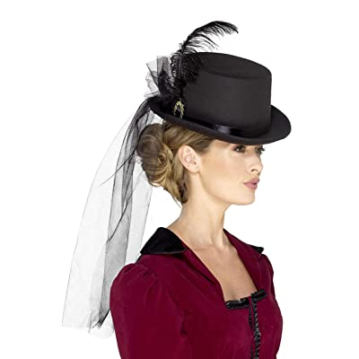 Smiffys 48413 Deluxe Ladies Victorian Top Hat, Black, One Size: Toys & Games