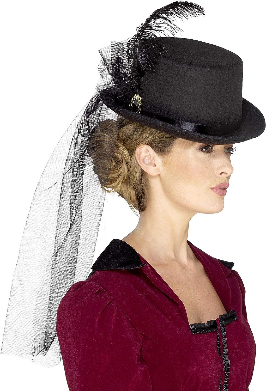 Burgundy Veil Adults Fancy Dress Deluxe Victorian Vampiress Hat