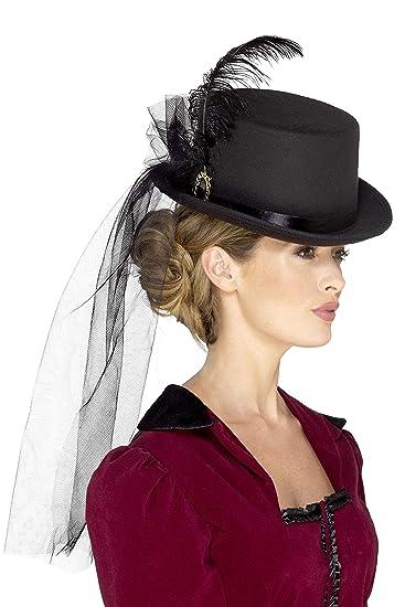 eb1a450c5 Amazon.com: Smiffys Deluxe Ladies Victorian Top Hat, Black, One Size ...