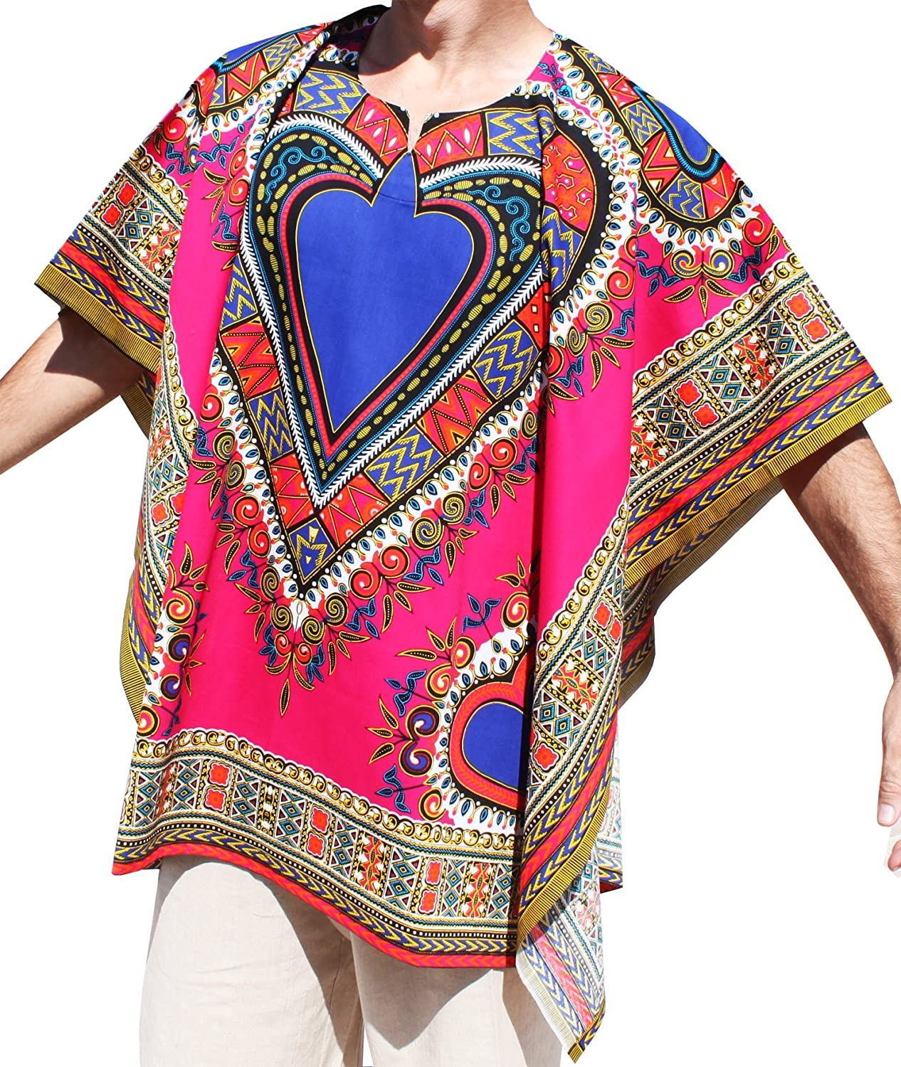 RaanPahMuang Brand Throw Over Mexican Poncho (Fully Open Sides) Bold Heart Print Dark Red item637870AMZ