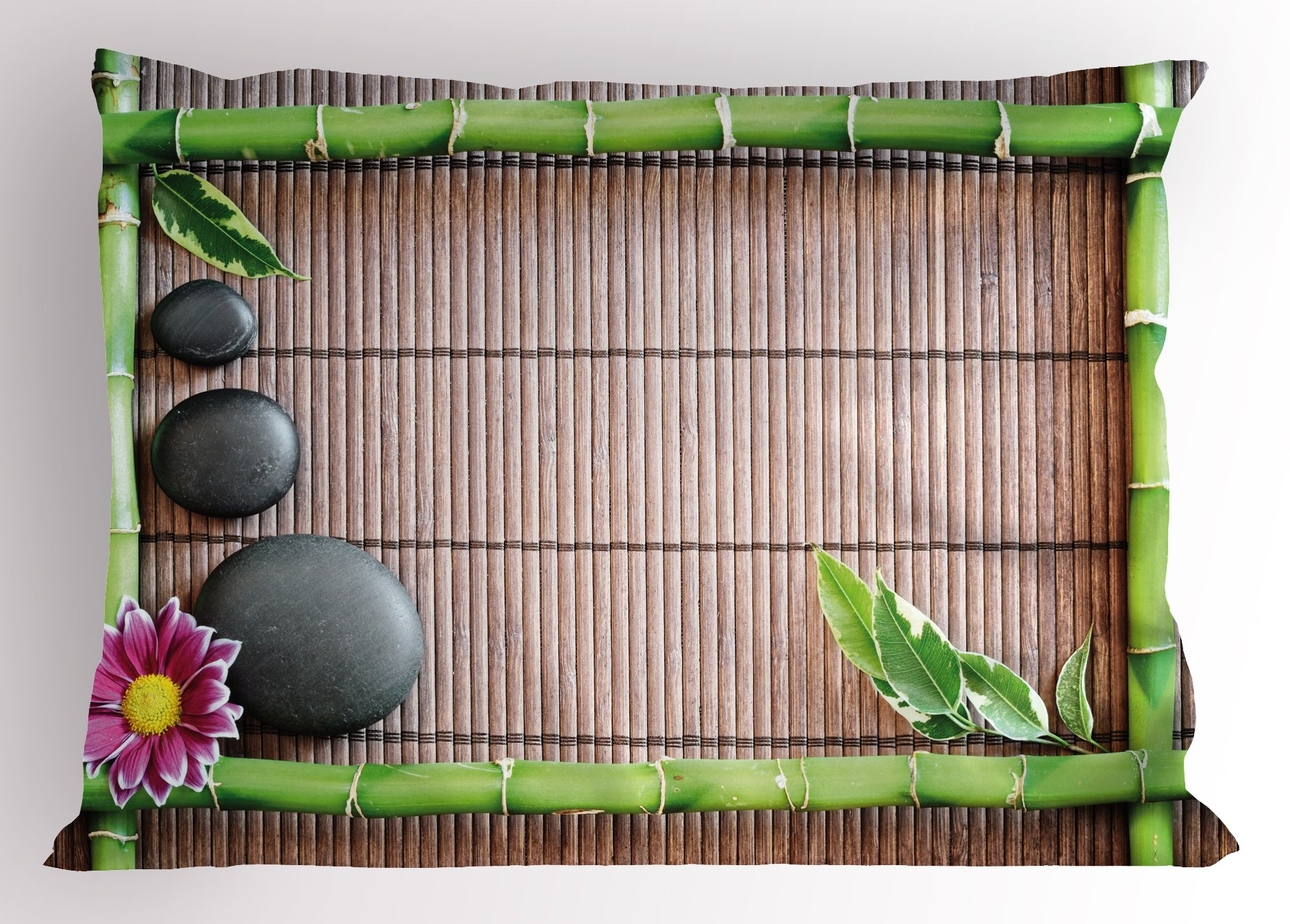 Ambesonne Meditation Pillow Sham, Spa Frame with Spiritual Stones Bamboo Stems Orchid Petals Yoga Zen Philosophy, Decorative Standard Queen Size Printed Pillowcase, 30 X 20 inches, Multicolor