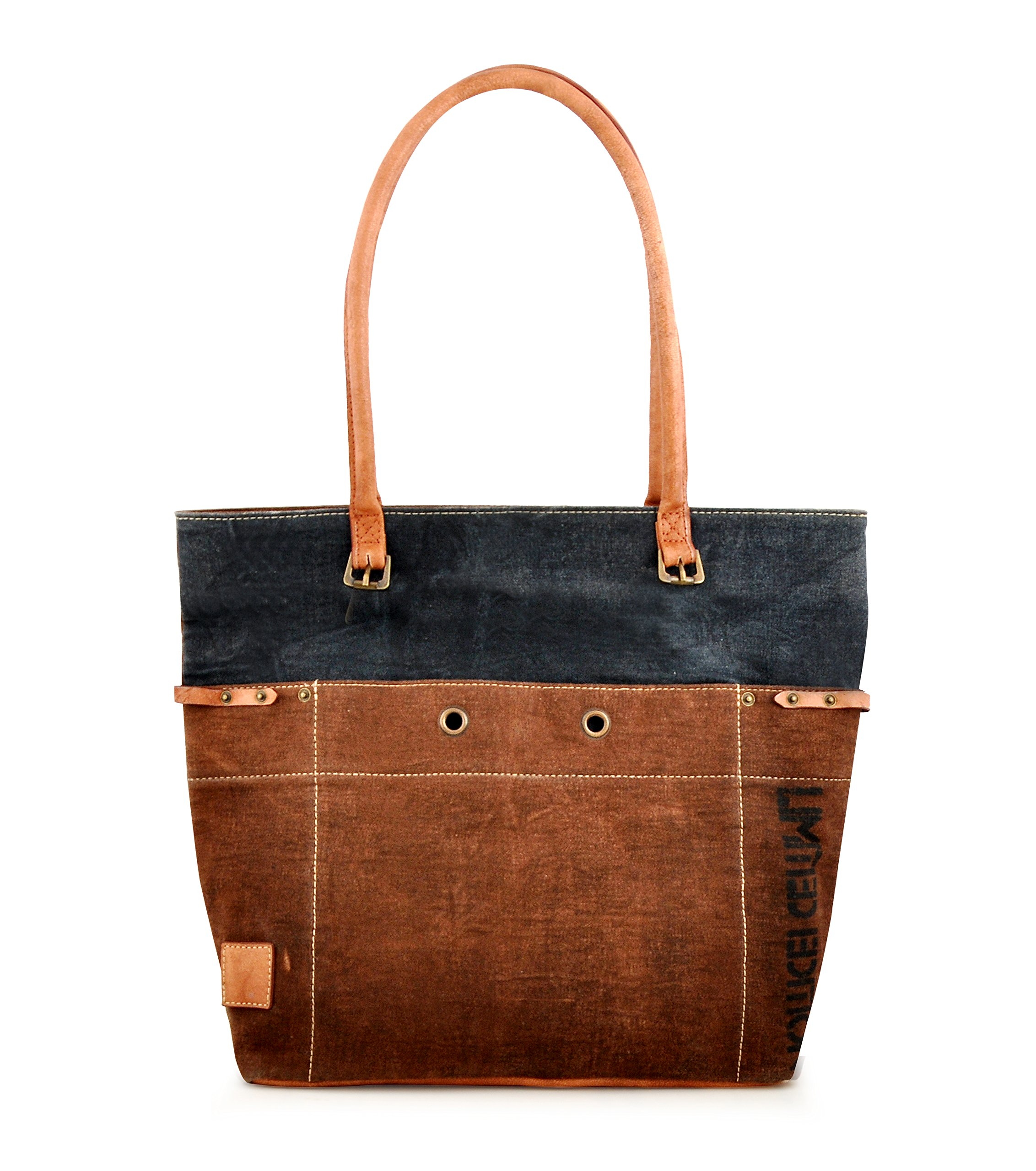 Canvas Tote bag for Women Girls Leather Trims Work Travel Shopper Backpack Cross body Hobo Messenger Shoulder Purse by Daphne