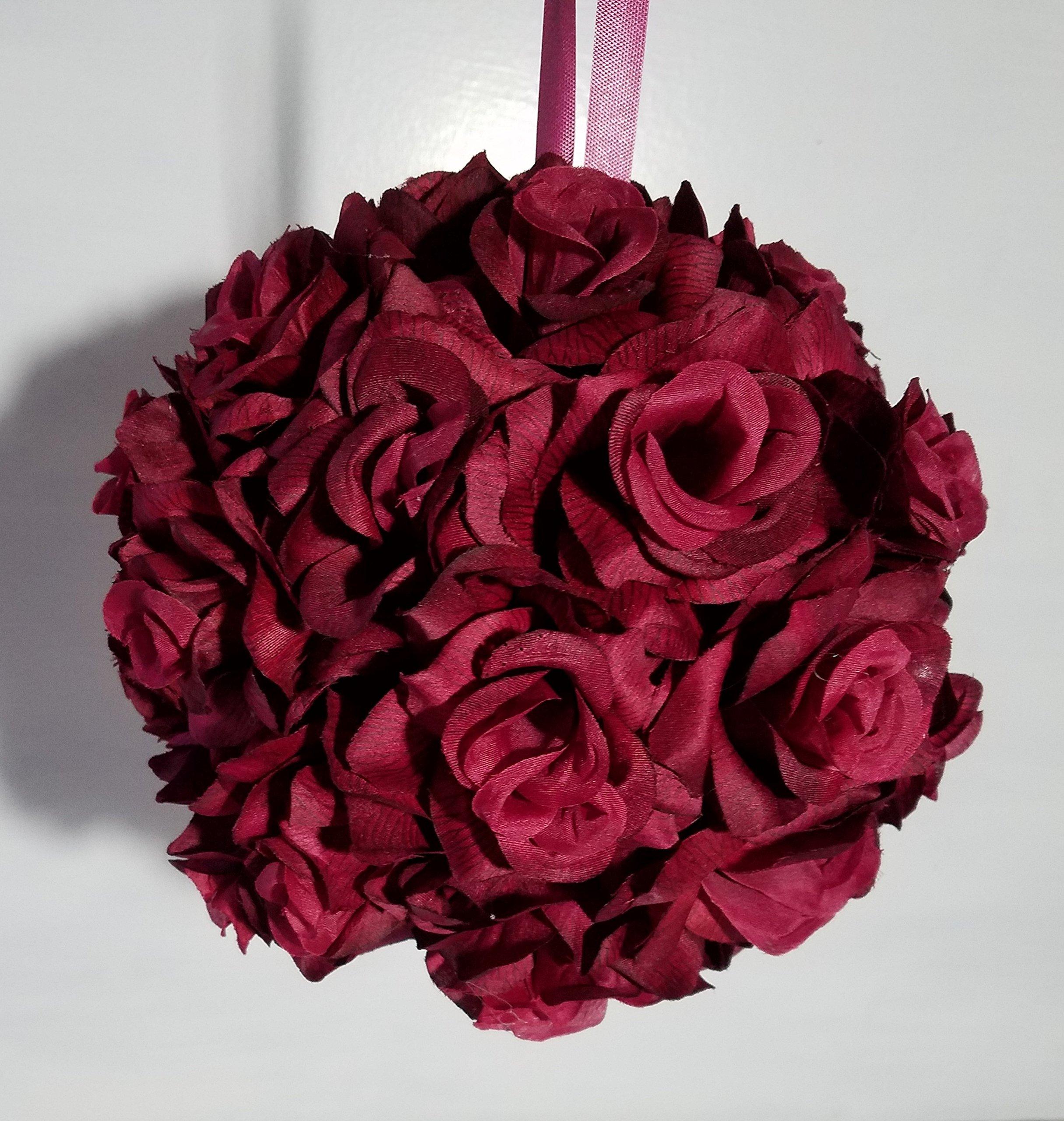 Burgundy-Silk-Rose-Kissing-Ball-Wedding-Decoration