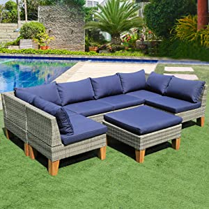 Patio Furniture Sectional Sofa Set - 7 Piece All Weather Resin Wicker Outdoor Conversation Set Blue Washable Cushions | Garden | Backyard | Pool | 12 Clips