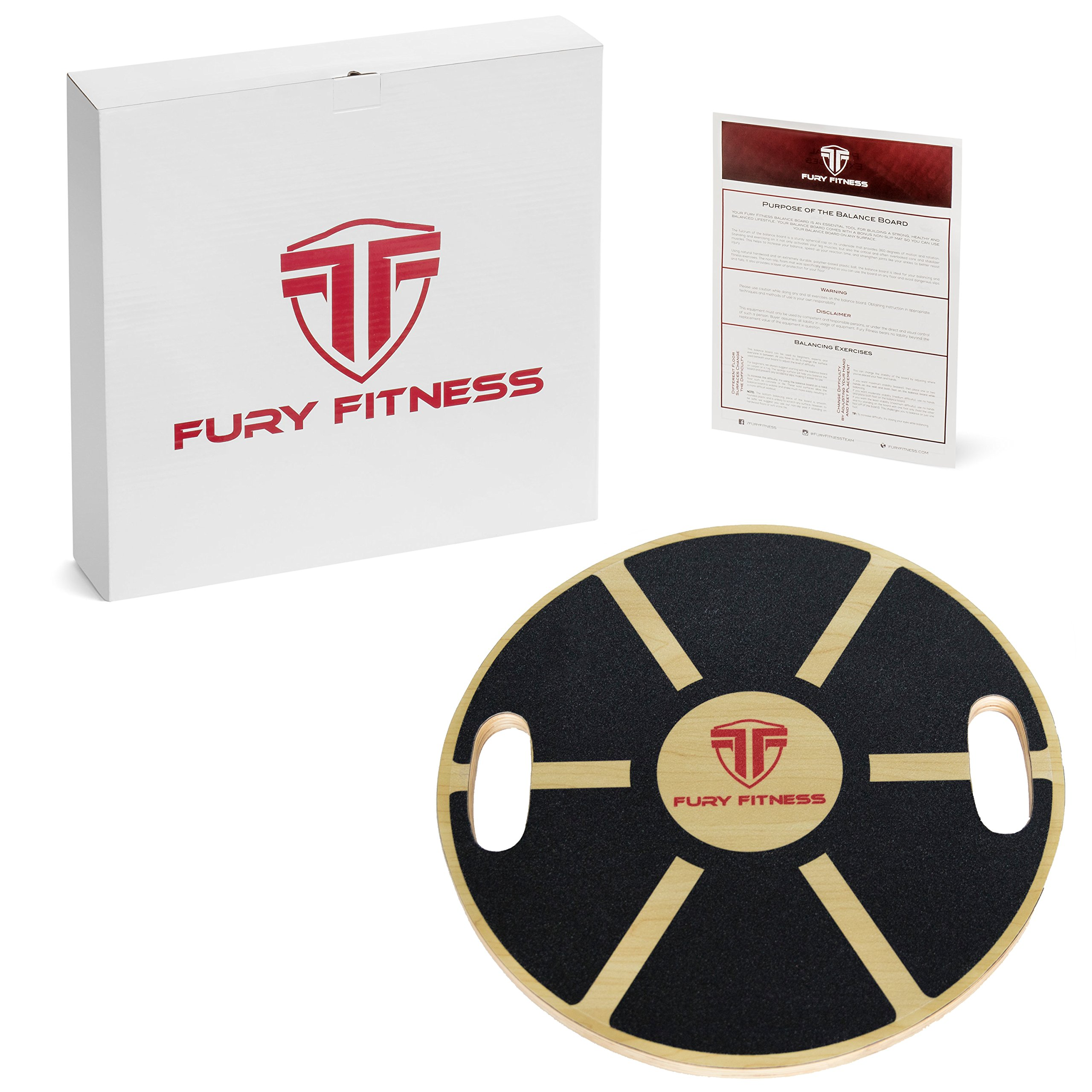Fury Fitness Balance Board for Active Men & Women, Wobble Balancing Boards for Abs Exercise Equipment, Weight Loss, to Burn Calories, Improve Posture, Physical Therapy & Build Strong Core!