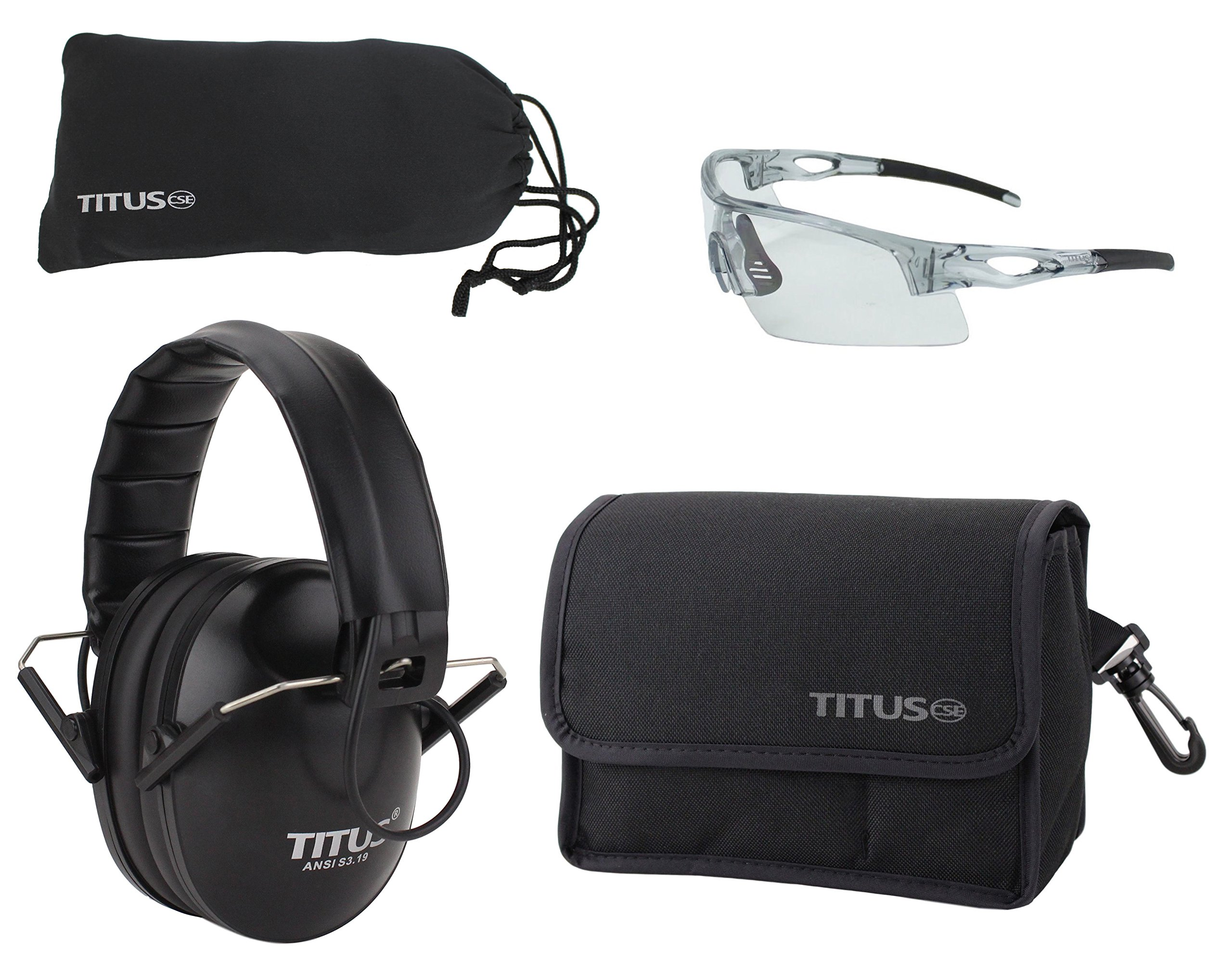 TITUS Top Combos: Safety Earmuffs & Glasses (Black Electronic - Slim, Z87.1 Clear All-Sport)
