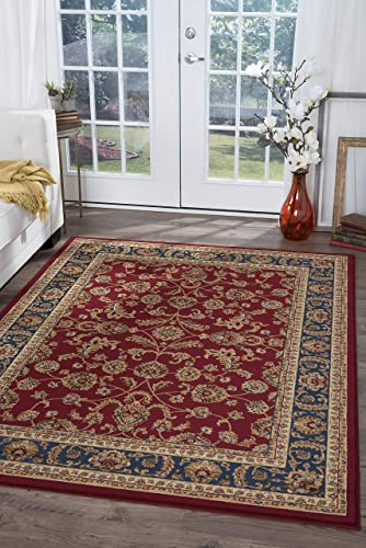 Sariya Transitional Oriental Red Rectangle Area Rug