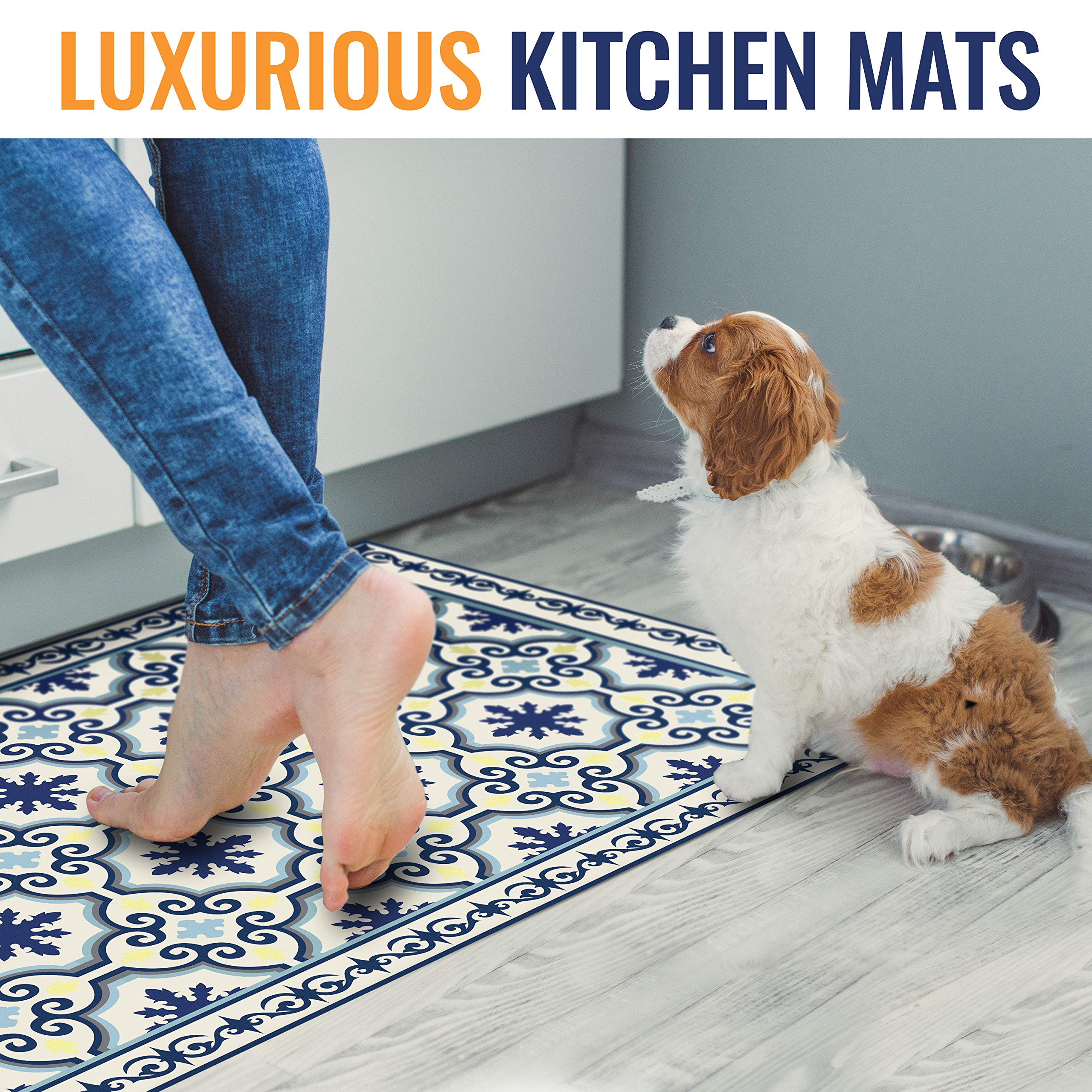 Camoone Non Slip Kitchen Mat + 4 Free Coasters - (Greek Garden) Blue & Off-White Decorative Vinyl Kitchen Floor Mat - Hypoallergenic, Insulated, Non-Fading, Easy to Clean and Non-Toxic''47.2x23.6x0.08'' by Camoone (Image #4)