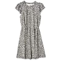 Amazon Brand - Lark & Ro Women's Georgette Split Neck Ruched Flutter Sleeve Dress