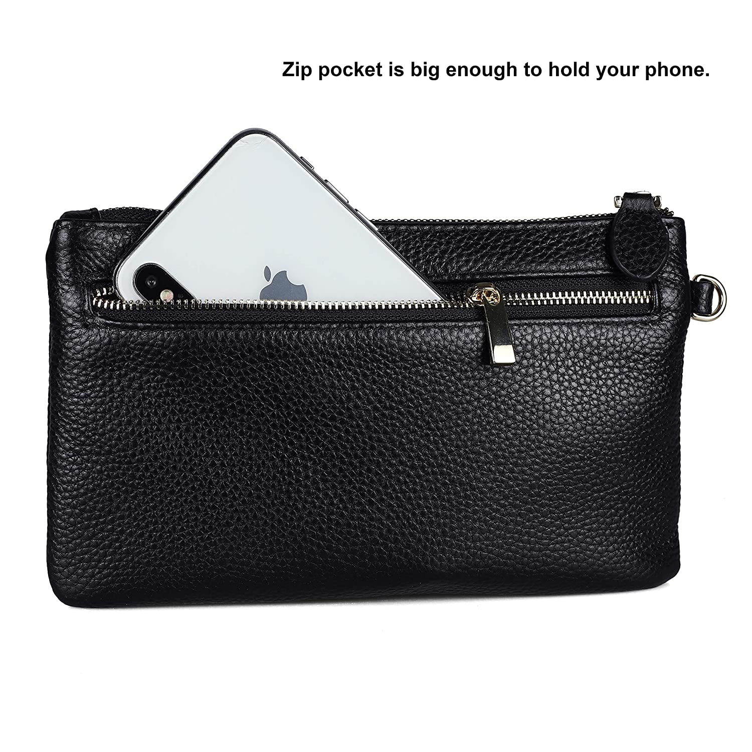 super popular 0bd98 598db FERRISA Womens Leather Clutch Purse, Small wristlet wallet with cell phone  holder