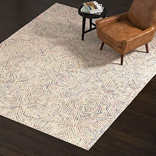 Rivet Geometric Wool Area Rug, 8 x 10 Foot, Ivory, Red, Purple