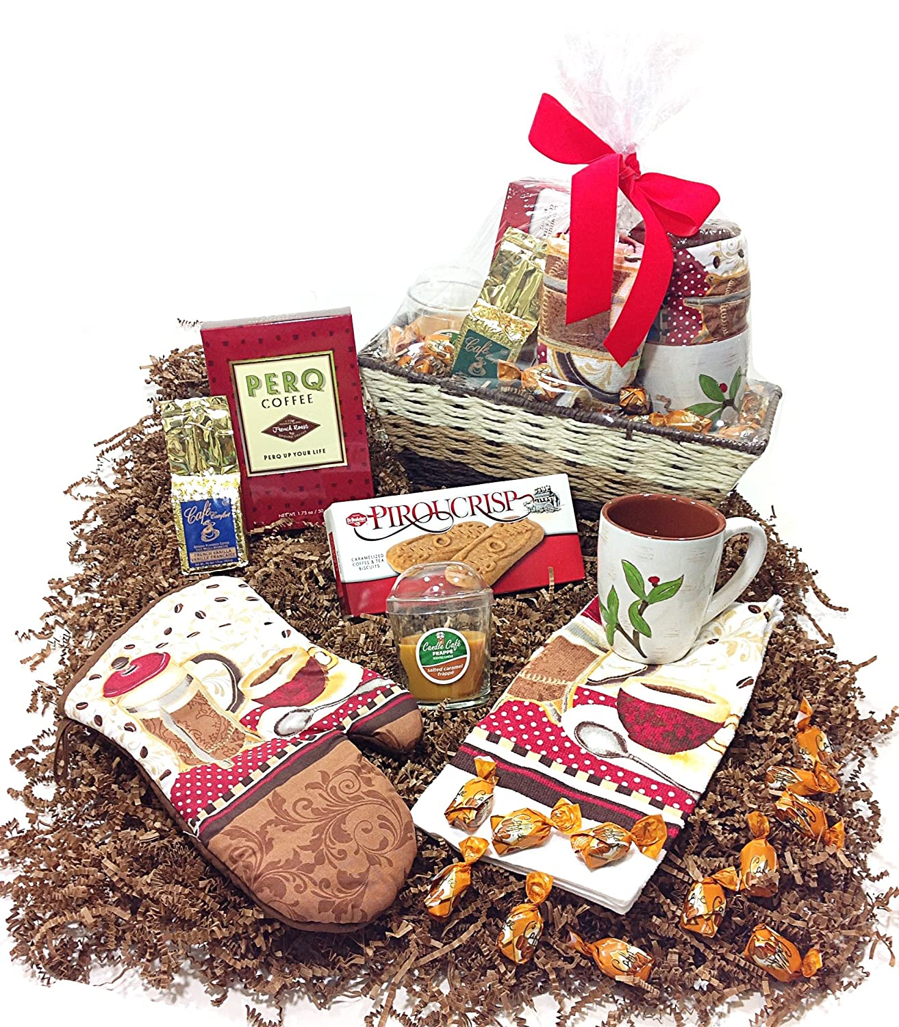 Amazon.com : Coffee Lovers Gift Basket - Mug, Coffees, Candle, Towel, Potholder, Caramel Biscuits & Candy : Grocery & Gourmet Food