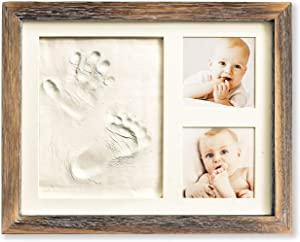 Baby Hand and Footprint Kit in Rustic Farmhouse Frame, a Baby Registry Must Have - Baby Handprint Kit, Baby Footprint Kit, Baby Nursery Decor (Brown)