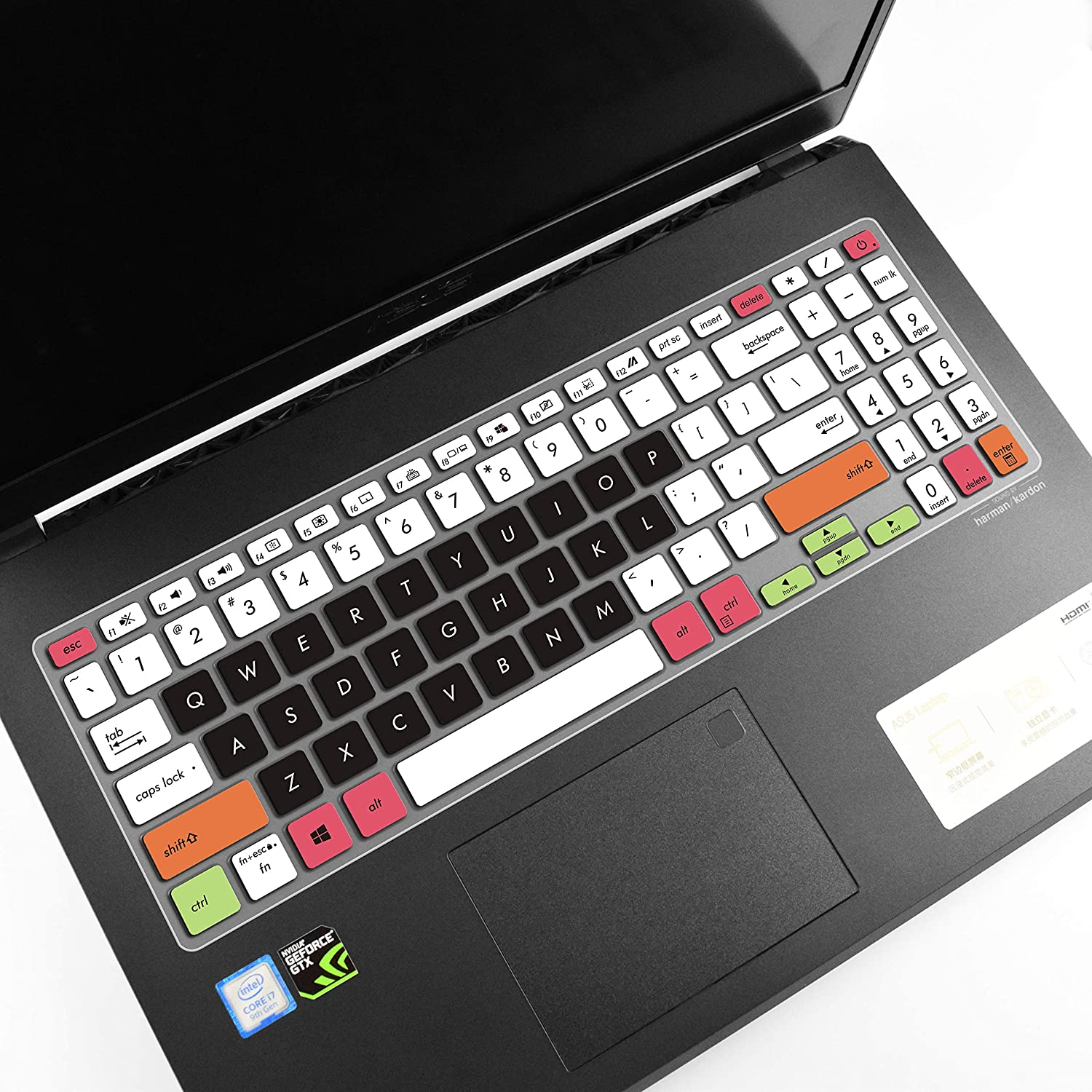 Leze White Black Ultra Thin Keyboard Cover Skin Compatible with 15.6 Asus Vivobook S15 S532 Thin /& Light Laptop