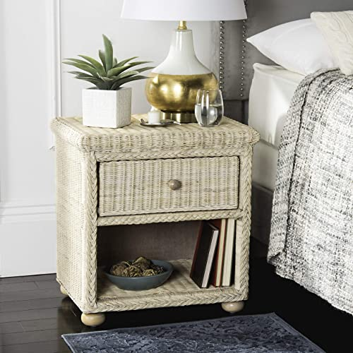 Safavieh Home Collection Adira Natural White Wash Wicker 1-Drawer Nightstand