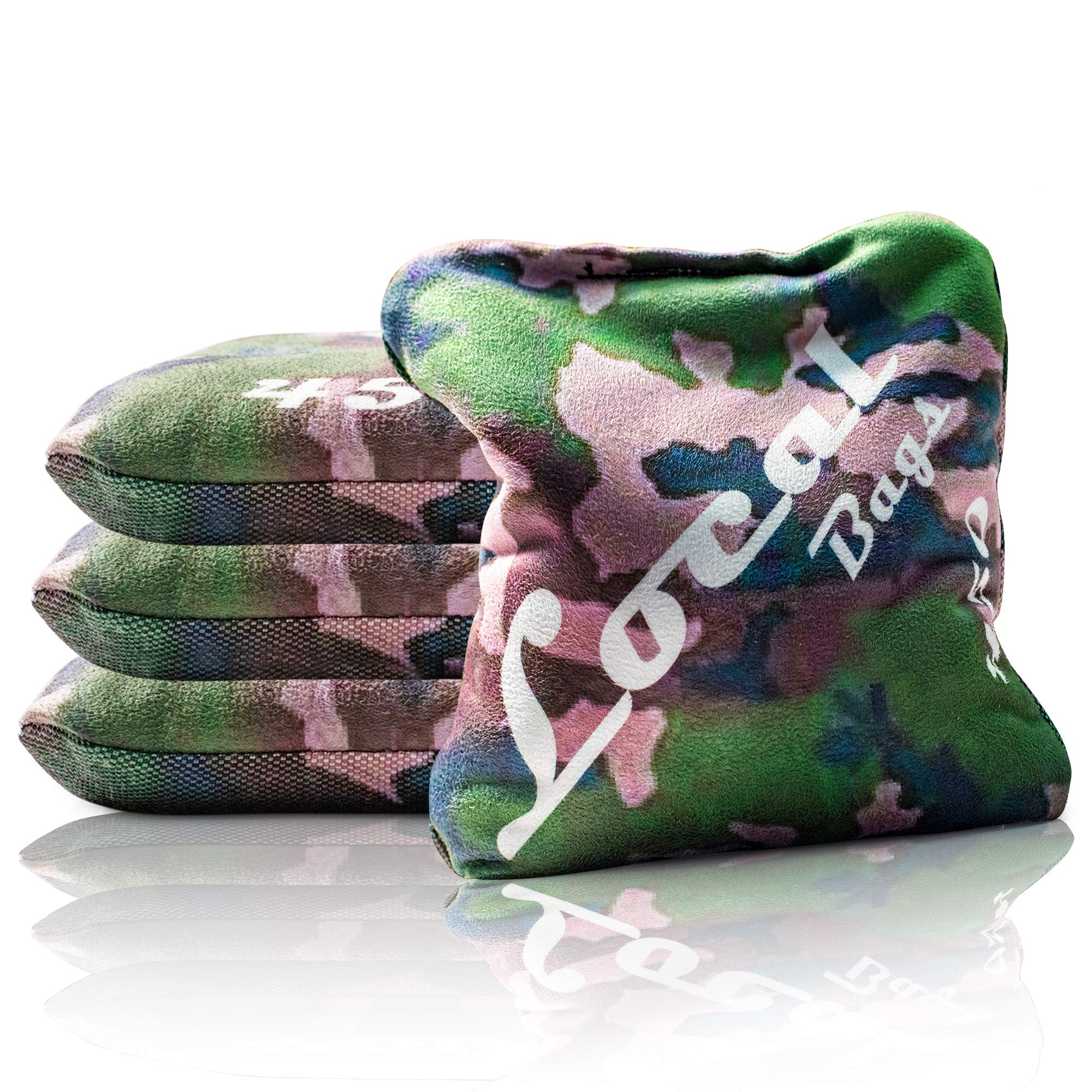 Local Bags Cornhole - 450's Series - Set of 4 Bags- ACL Approved Resin Filled - Double Sided - Sticky Side/Slick Side Made in USA (Army Camo) by Local Bags