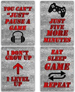 Canvas Gaming Art 12x16 | Gamer Posters for Gaming Room Wall Decor Video Game Poster for Teen Boys Bedroom Decorations for Teenager boy Gaming Pictures for Wall red and Grey Prints Gamer Canvas