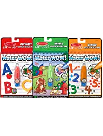 "Melissa & Doug Water Wow! Reusable Color with Water On the Go Activity Pad 3-Pack, Animals, Alphabet, Numbers, 10"" H x..."