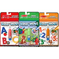 "Melissa & Doug Water Wow! Reusable Color with Water On the Go Activity Pad 3-Pack, Animals, Alphabet, Numbers, 10"" H x 6.25"" W x 1.5"" L"