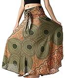 B BANGKOK PANTS Women's Long Boho Maxi Skirt Hippie Clothes Bohemian Asymmetric (Green Floral, One Size)