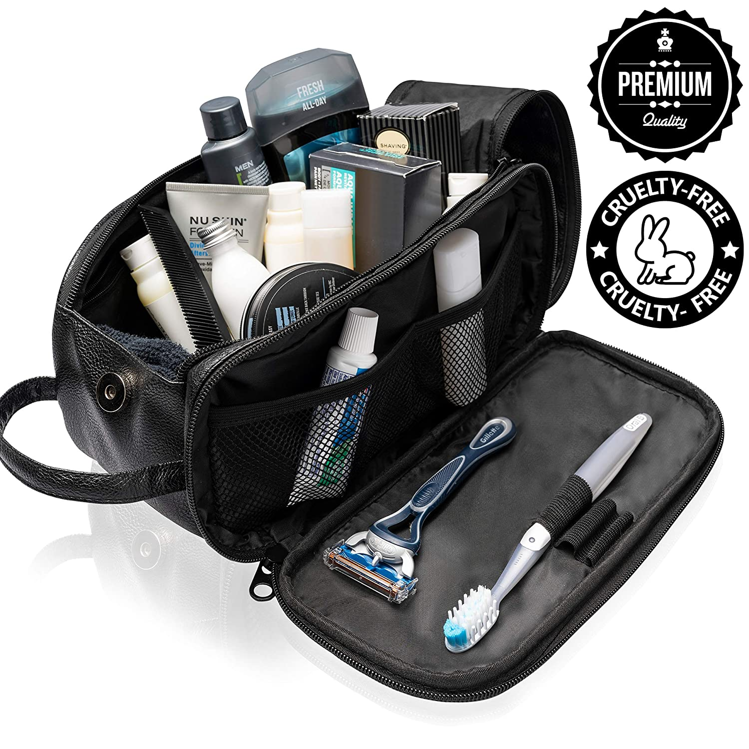 Toiletry Bag for Men or Women - Dopp Kit For Travel. Cruelty Free Toiletries Organizer PU Leather Bags Quality Selections USA