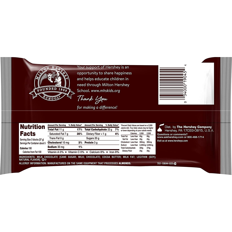 Amazon.com : HERSHEY'S Chocolate Bar, Milk Chocolate Candy Bar, 7 ...