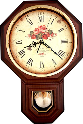 Justime Vintage Rose Classic Traditional Schoolhouse Pendulum Wall Clock Chimes Every Hour
