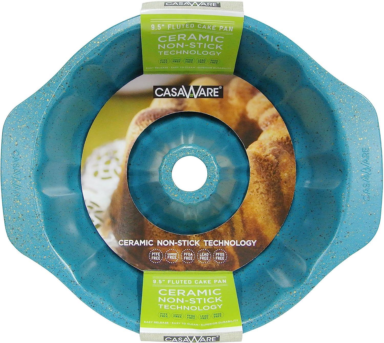 Ceramic Coated NonStick 12-Cup Blue Granite casaWare Fluted Cake Pan 9.5-inch
