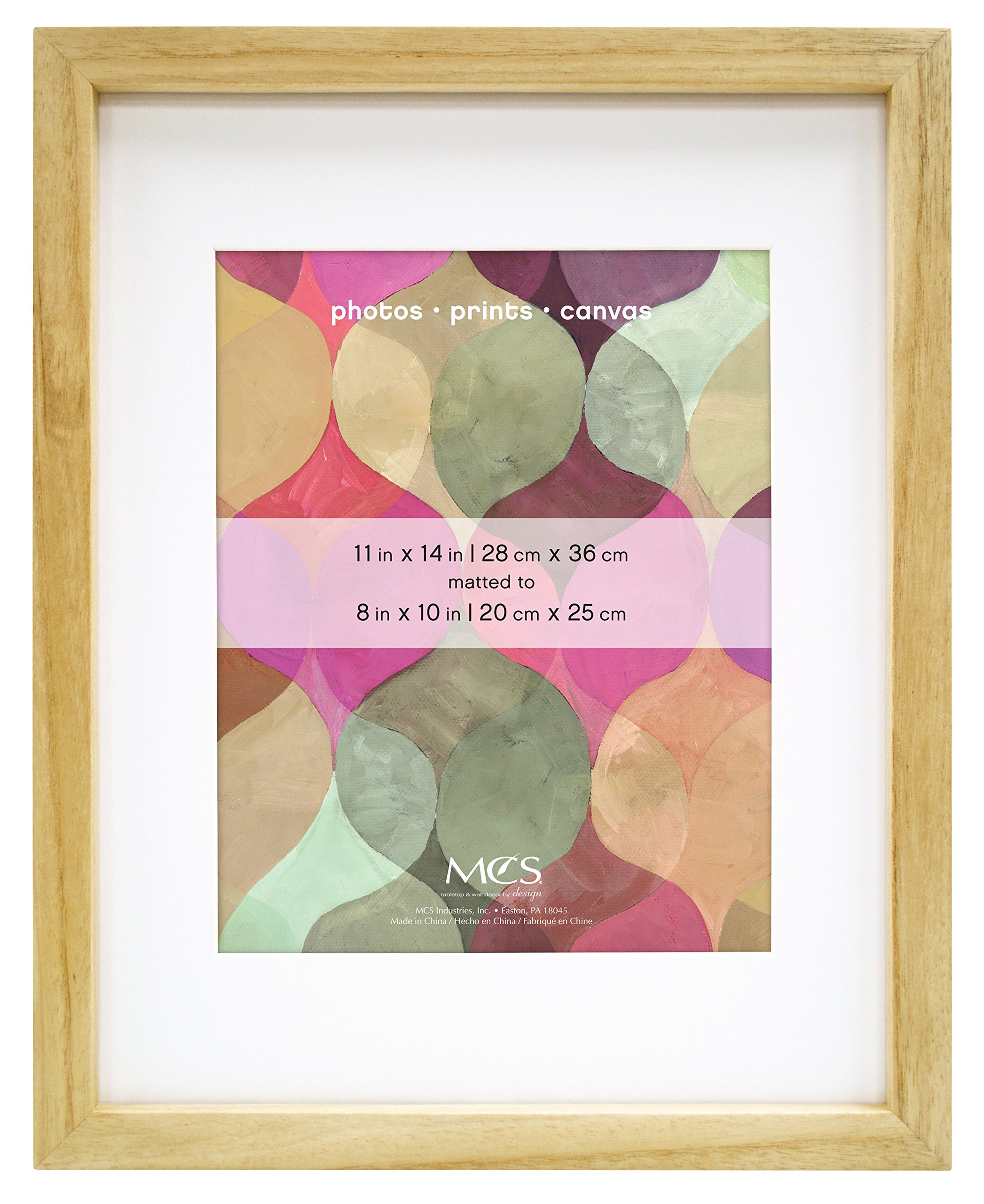 MCS 11x14 Inch Art Frame with 8x10 Inch Mat Opening, Natural Finish (47574)