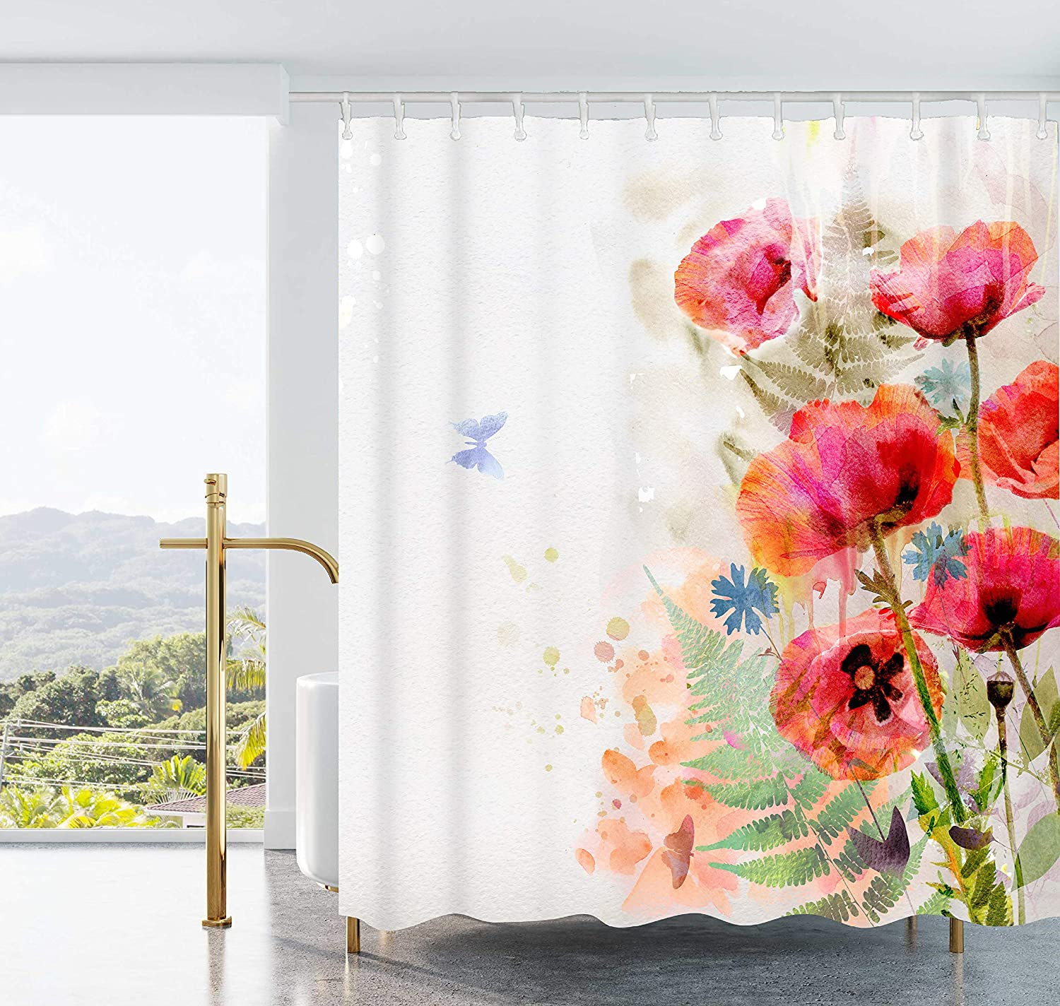 Ao blare Flower Shower Curtain Watercolor Red Poppies Fern-Leaf Polyester Fabric Shower Curtain With Hooks 72X72 Inches