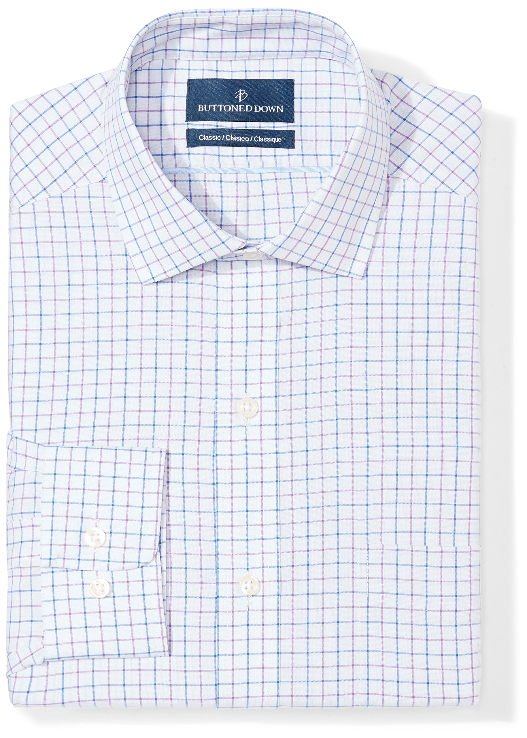 Buttoned Down Men's Classic Fit Spread-Collar Pattern Non-Iron Dress Shirt, Grey/Purple/Blue Check, 17.5'' Neck 32'' Sleeve by Buttoned Down