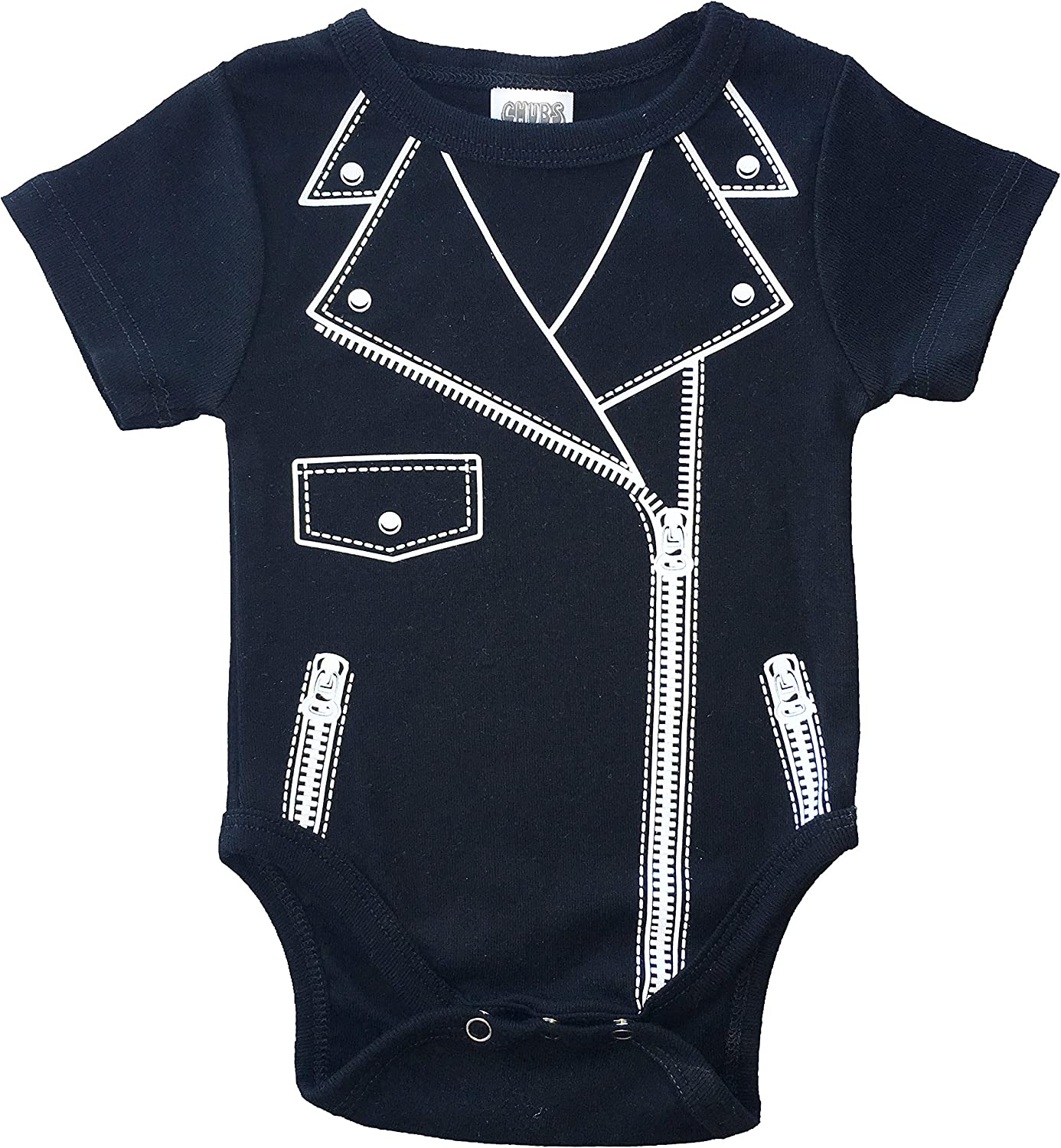 Infant Boy 0 3 6 Month Outfit Motorcycle Biker Black One Piece